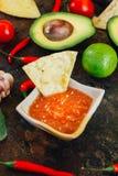 Whith mexicain chaud de Salsa les puces de nacho entourées par des ingrédients - tomates, poivrons de piment, chaux photographie stock libre de droits