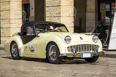 spider cabrio triumph tr3 on the road Stock Photography