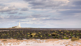 Whitley Bay. St Mary's Lighthouse overlooking Whitley Bay, near Newcastle Upon Tyne, United Kingdom Stock Photography