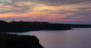 Whitley Bay to Seaton Sluice at dusk. Sunset over Seaton sluice from whitley Bay Stock Images
