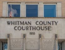 Whitman County Courthouse with flag. Reflection of a United States flag in the Whitman County Courthouse in Colfax, Washington Stock Images