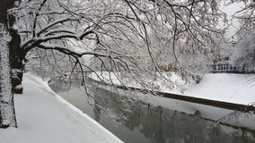 Whitness - río Miljacka durante el invierno en Bosnia Foto de archivo libre de regalías