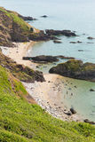Whitsand海湾海滩康沃尔郡海岸英国英国 免版税库存图片
