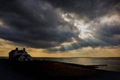 Whitstable Bay. This photo shows  the beautiful Whitstable Bay by evening in Kent Royalty Free Stock Image