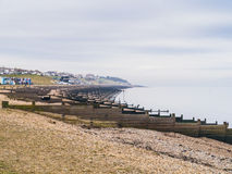 Whitstable beach on a misty day Stock Photos