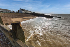 Whitstable Beach, wide angle. Royalty Free Stock Images