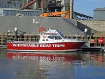 Whitstable boat trips touring vessel. Photo of whitstable boat trips vessel taken on 29th sept 2018 docked at whitstable harbour royalty free stock photos