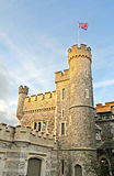 Whitstable castle flying the flag. Photo of whitstable castle in the county of kent with the setting sun on the flying flag Royalty Free Stock Photo