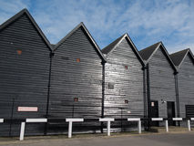Whitstable, Converted fishermna's huts in the harbour. Stock Images