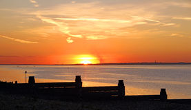 Whitstable golden sunset. Photo of a beautiful golden sunset over the kent coast of whitstable Royalty Free Stock Photography