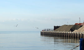 Whitstable Harbour. This photo shows the Whitstable working harbour with a couple of seagulls flying in the skies Stock Photos