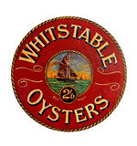 Whitstable oysters sign. Photo of an old victorian sign advertising whitstable oysters Stock Photo