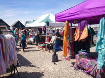 Whitstable village market. All the stalls out and open selling all manner of goods and luxuries Stock Photography