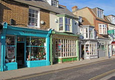 Whitstable vintage shops. Photo of olde worlde shoppes in the historic harbour town of whitstable in kent.photo taken 23rd november 2013 and useful for historic Stock Photography