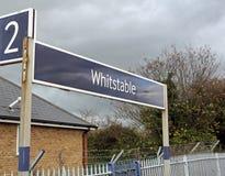 Whitstable Zeichen des Bahnzugs Lizenzfreie Stockfotografie