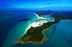 Whitsunday Island. An aerial view of famous Whitehaven Beach & the islands of the Whitsundays. Situated in the the Great Barrier Reef, Queenland, Australia Royalty Free Stock Photos