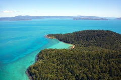 Whitsunday Island Aerial Landscape. Aerial landscape over a Whitsunday Island in Queensland Australia Royalty Free Stock Images