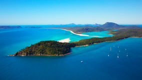 Whitsunday Island. An aerial view of famous Whitehaven Beach and Whitsunday Islands. Positioned in the the Great Barrier Reef, Queensland, Australia Stock Photo