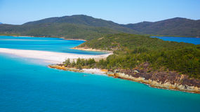 Whitsunday Island Hill Inlet. An aerial view of famous Hill Inlet and Whitehaven Beach in the Whitsunday Islands. Positioned in the the Great Barrier Reef Royalty Free Stock Photos