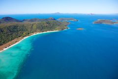 Whitsunday Islands. An aerial view of famous Whitsunday Islands in the the Great Barrier Reef, Queensland, Australia Stock Image
