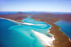 Whitsunday Islands. Aerial view of Whitehaven beach in the Whitsundays, Australia Royalty Free Stock Photos