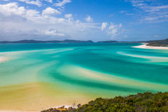 Whitsunday islands coastal waters. Whitsunday islands - palm fringed, secluded, white sand beaches, surrounded by clear blue waters. Queensland, Australia stock photos