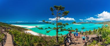 WHITSUNDAYS, AUS - SEPT 22 2017: Lookouts over Whitehaven Beach. WHITSUNDAYS, AUS - SEPT 22 2017: Lookouts over the Whitehaven Beach in the Whitsunday Islands Royalty Free Stock Images