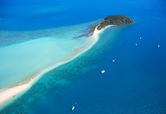 Whitsundays Island Tropical Australia. Picturesque Langford island in tropical Whitsundays Australia. Aerial landscape view Royalty Free Stock Images