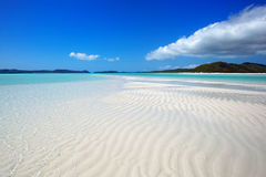 Whitehaven Beach landscape. View in the Whitsunday islands in Australia Royalty Free Stock Photos