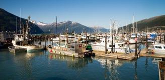 """Whittier,阿拉斯加/美国†""""8月, 5日:小船是被停泊的a 免版税库存图片"""