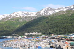 Whittier. Village of Whittier, Alaska, departure place for cruise ships Royalty Free Stock Photography