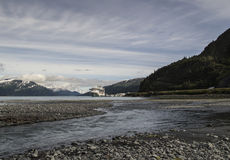 Whittier Alaska views. View of Whittier Alaska with a cruise ship in the background in summer Stock Photography