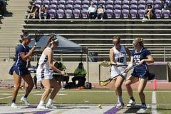 03-14 Whittier van 2016 Vrouwen` s Lacrosse 5 Fairleigh Dickerson 18 Stock Afbeelding