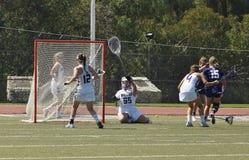 03-14 Whittier van 2016 Vrouwen` s Lacrosse 5 Fairleigh Dickerson 18 Stock Foto