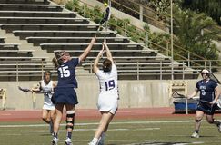 2016 03-14 Whittier Women`s Lacrosse 5  Fairleigh Dickerson 18. Fairleigh Dickerson of new Jersey defeats Whittier College of California 5-18 at whittier on a Stock Photography
