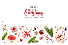 Whitw Christmas background. Isolated Flat lay Christmas composition with fir tree branches on light holiday background. Top view of Natural design elements Royalty Free Stock Photo