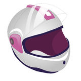 Whitw and pink motorcycle helmet icon. illustration of motorbike or motorcycle helmet  icon for web. Isolated on white backg Royalty Free Stock Images
