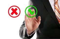 Wählen Sie das Knopfrecht vor Stockbilder