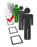 Wählen Sie Leute in den Auswahlwahl-Abstimmungskästen Stockbilder