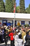 Wähler, die zur Abstimmung, Karthago warten Stockbild