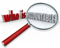 Who is Accountable Words Magnifying Glass Credit Blame. Who is Accountable question in 3d words and letters asking, looking and searching for the person vector illustration