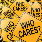 Who cares. Illustration depicting many roadsigns with a who cares concept Stock Photo