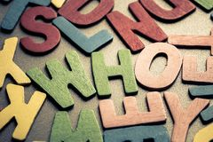 WHO. Closeup WHO word in scattered wood letters royalty free stock photos