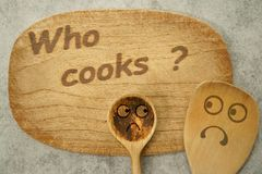 Who cooks ? Unable to cook.  Hate cooking. Royalty Free Stock Image