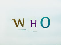 Who - Cutout Words Collage Of Mixed Magazine Letters with White Background. Caption composed with letters torn from magazines with White Background Stock Image