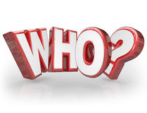 Who 3D Word Question Mark Wondering Surprise Royalty Free Stock Images