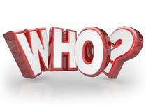 Who 3D Word Vraag Mark Wondering Surprise Royalty-vrije Stock Afbeeldingen