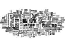 Who Is Dr Robert Anthony And Why Is He One Of My Mentors And Heroes Word Cloud Royalty Free Stock Photo