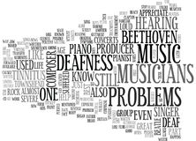 Who Among The Famous Musicians Has Deafness Problemsword Cloud. WHO AMONG THE FAMOUS MUSICIANS HAS DEAFNESS PROBLEMS TEXT WORD CLOUD CONCEPT Royalty Free Stock Photo