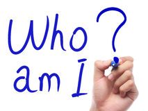 """Who Am I. Hand with pen is writing """" Who Am I"""" on transparent white board stock photography"""